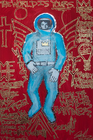 Title: Spaceman Michael Jackson By: Justin Hammer Dimensions: 72 x 48 inches Year: 2018  Please inquire for pricing.