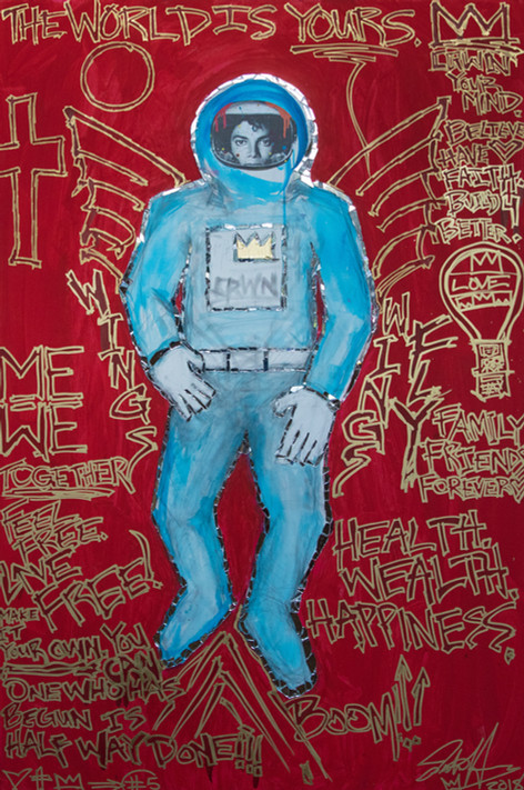 Title: Spaceman Michael Jackson By: Justin Hammer Dimensions: 72 x 48 inches  Please inquire for pricing.