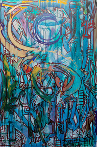 Title: Shoots and Ladders By: Justin Hammer Dimensions: 72 x 48 inches Year: 2018  Please inquire for pricing.