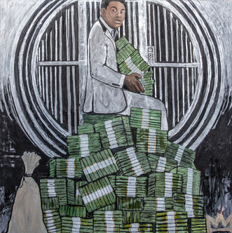"""Title: """"I Said That Before I Knew I Was"""" -Muhammad Ali By: Justin Hammer & Paul Morse  Dimensions: 48 x 48 inches Year: 2017  Please inquire for pricing."""