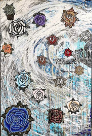 Title: The Roses By: Justin Hammer & Danny Fryer Dimensions: 60 x 40 inches Year: 2017  Sold