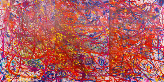 Title:  Channeling Pollock By: Justin Hammer  Dimensions: 60 x 40 (set of 3) 10 feet x 5 feet (in total)  Please inquire for pricing.