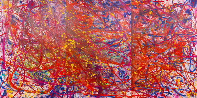 TItle: Channeling Pollock By: Justin Hammer  Dimensions: 60 x 40 (set of 3) 10 feet x 5 feet (in total) Year: 2017  Please inquire for pricing.