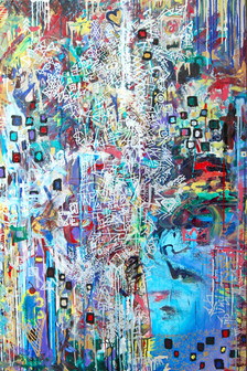 Title: We Are Puzzles II By: Justin Hammer and Kate Lantigua Dimensions: 40 x 60 inches Year: 2016  Sold