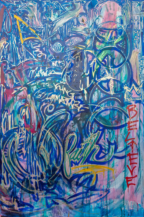 Title: Divided By: Justin Hammer Dimensions: 72 x 48 inches  Please inquire for pricing.