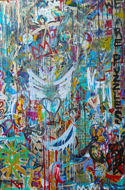 Title: We Are Puzzles V By: Justin Hammer and Kate Lantigua Dimensions: 40 x 60 inches Year: 2016  Please inquire for pricing.