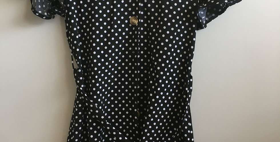 wish black polkadot dress