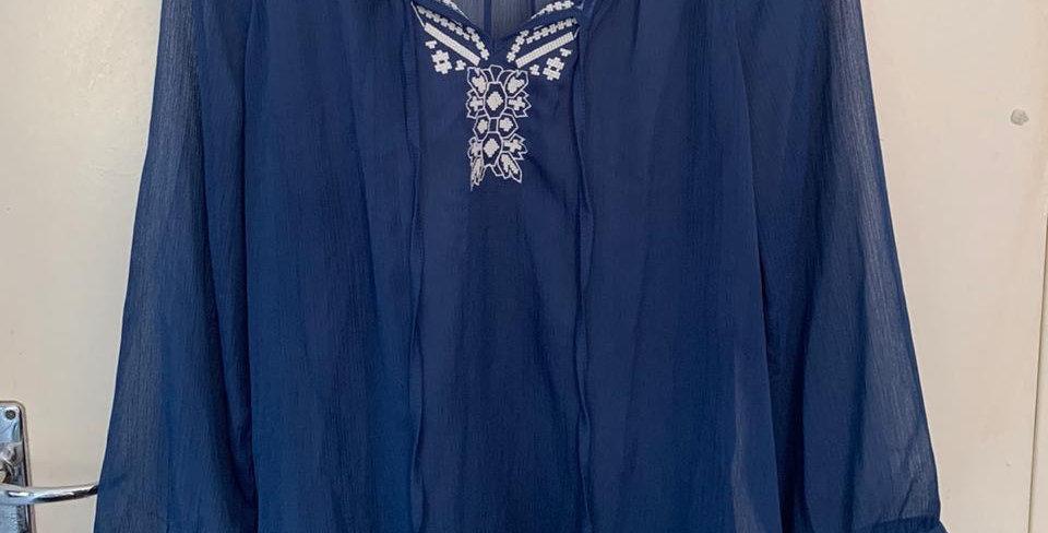 Woolworths sheer blue top
