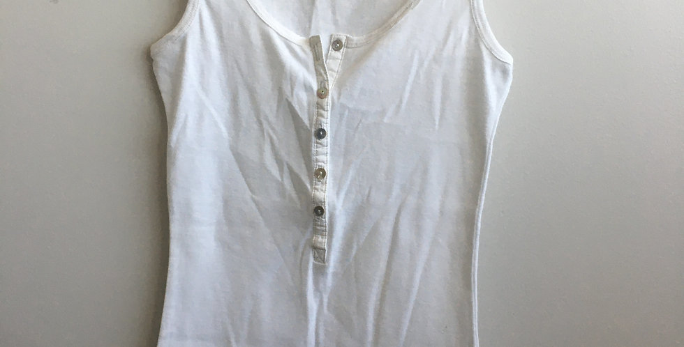 real clothing white button tank top