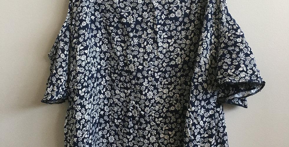 senqu blue flower shirt