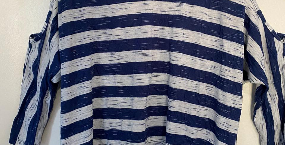Rocky Blue striped off the shoulder top