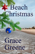 Oceanfront beach scene with Christmas ornaments