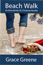 Barefoot woman walking on the beach with a Christmas stocking