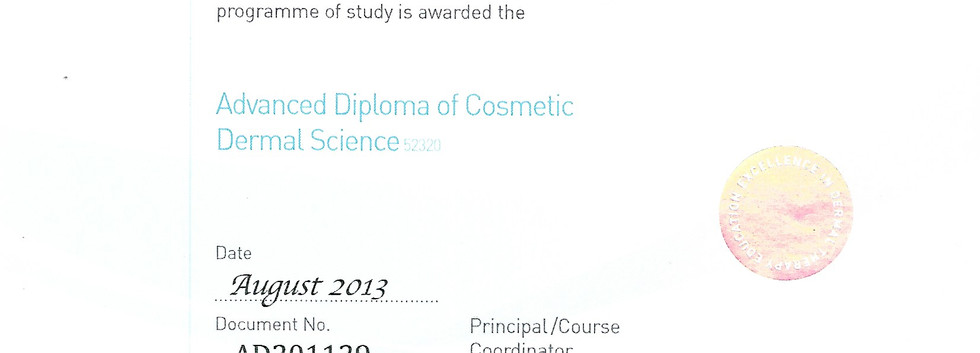 Advanced diploma of cosmetic dermal scie