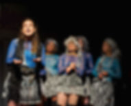 Lysistrata (Stephanie Regina) sings with the women: Joy Kelly, Dominique Salerno, Josephine Wheelwright, Elena Taurke