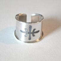 Carl Sentance silver logo ring