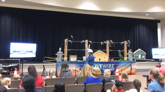 A livewire demonstration to educate kids and families on being safe with electricity, during the library's special summer programming