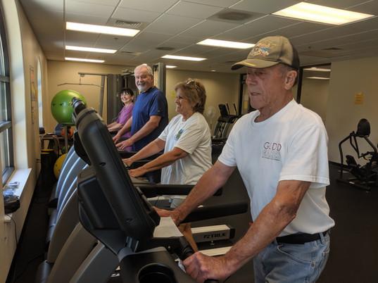 seniors look to be enjoying the treadmills