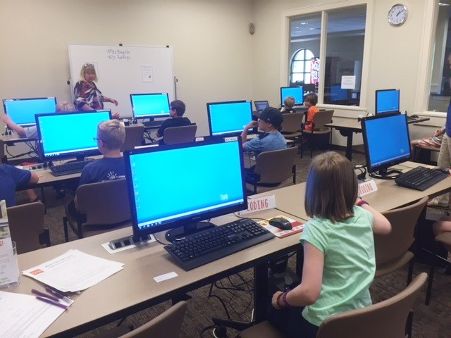 coding club meets in the computer lab