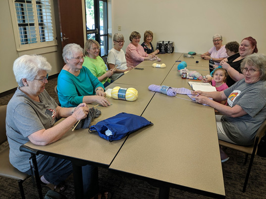 our handcrafts group gets together every week to knit