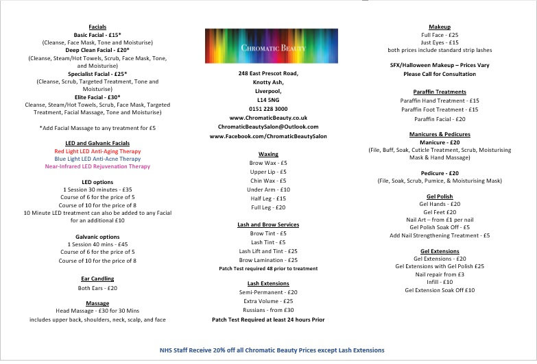 chromatic beauty price list