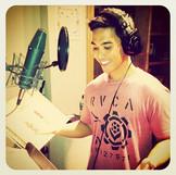 In the studio recording the audio narrat