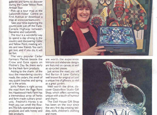 """Take Your Time on the Cedar Yellowpoint Artisan Tour"" - Ladysmith Chronicle"