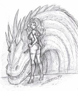 Chica guerrera con Dragón