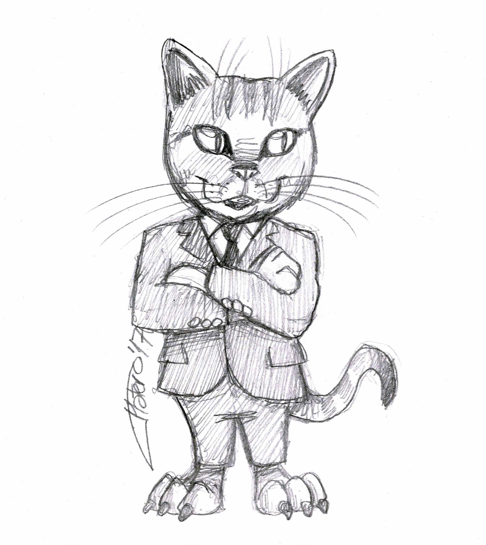 gato elegante_traje_jose_luis_paltero_sketch_lapiz_cat