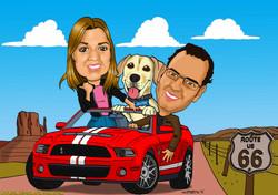 Caricaturas a color por encargo personalizadas02_Pareja con perro en coche Musta