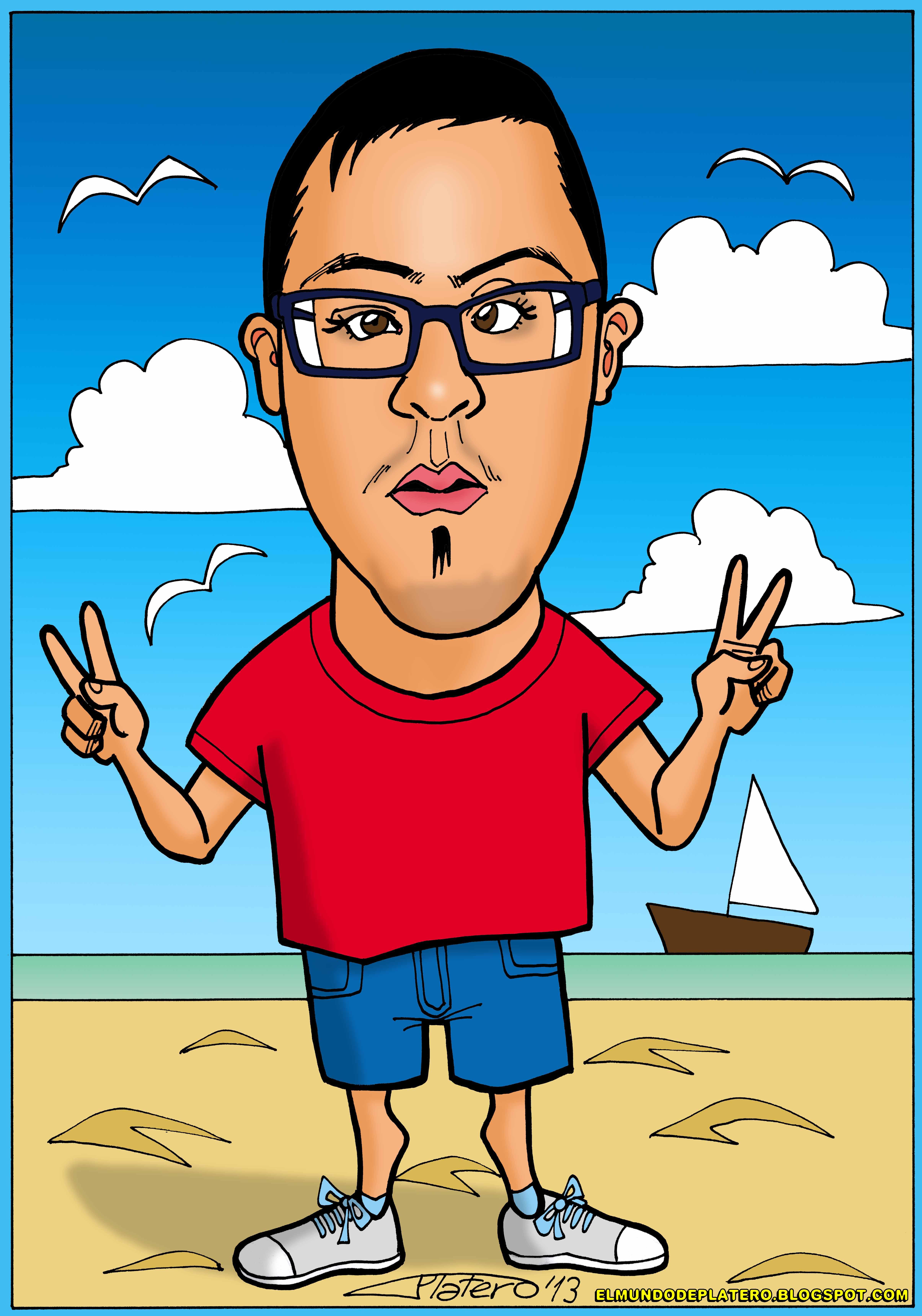 caricaturas a color_chico en playa_elmundodeplatero_josé luis platero.jpg