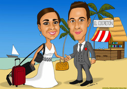 caricaturas a color por encargo personalizadas_pareja novios boda en playa_plate