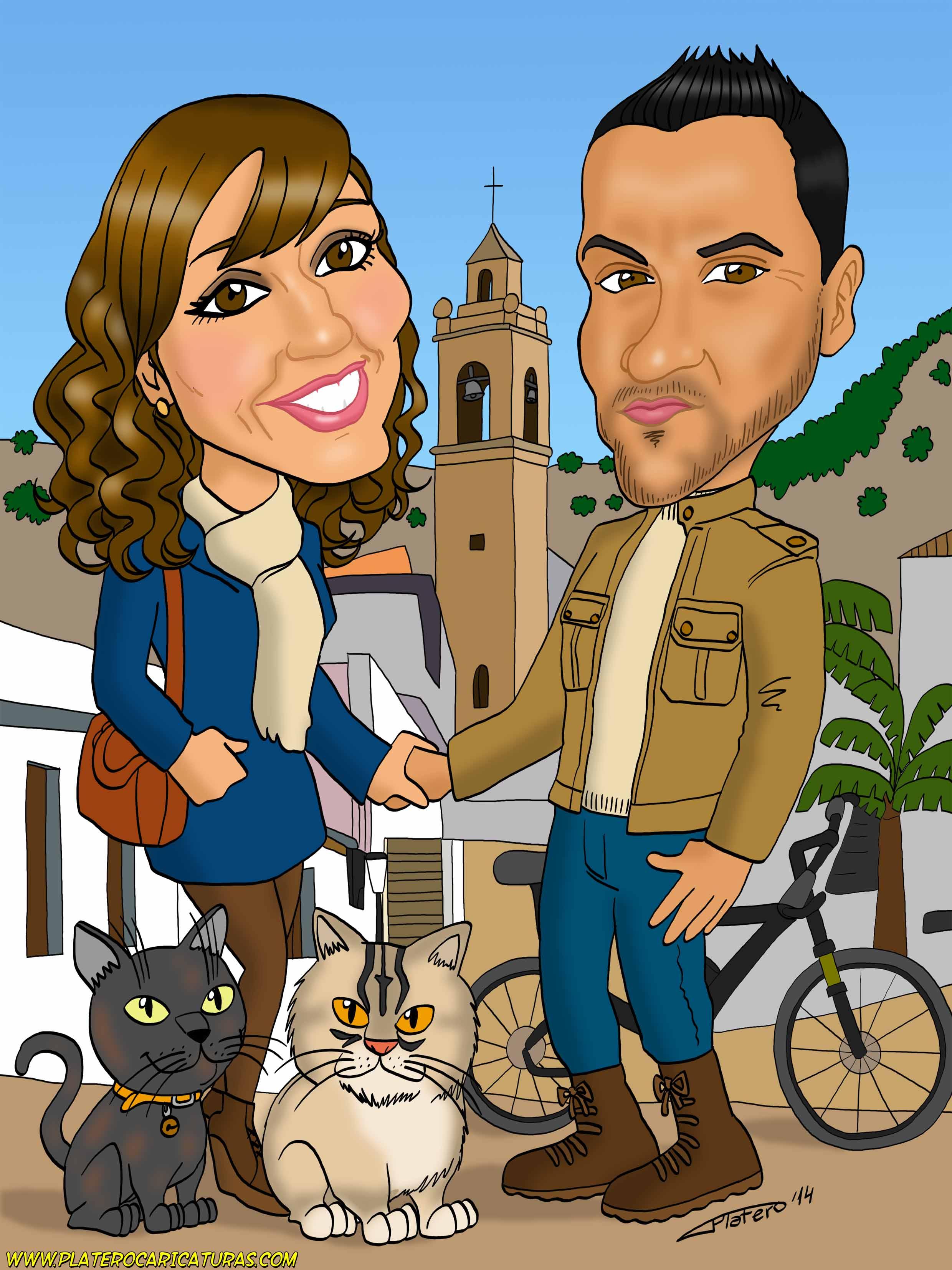 caricatura_a_color_por_encargo_personalizada_pareja_y_gatas_elmundodeplatero_jos