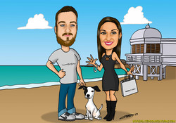 caricaturas_a_color_por_encargo_personalizadas_pareja_con_perro_playa_platerocaricaturas_elmundodepl