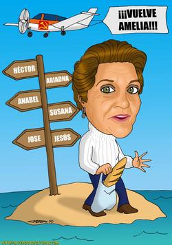 caricaturas a color por encargo personalizadas_mujer en isla con avioneta_plater