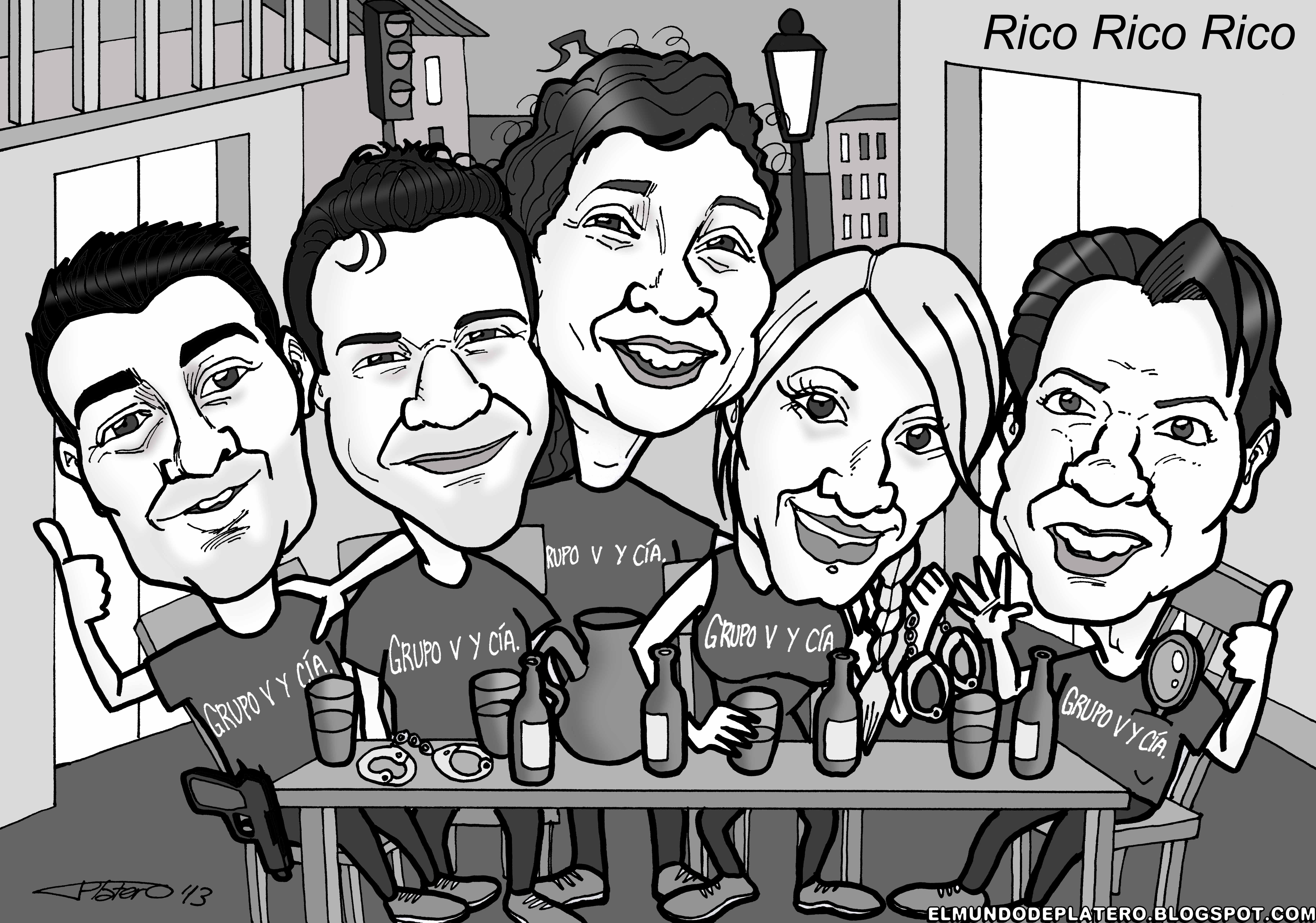 caricaturas a color por encargo personalizadas_los 5 en el bar_platerocaricatura