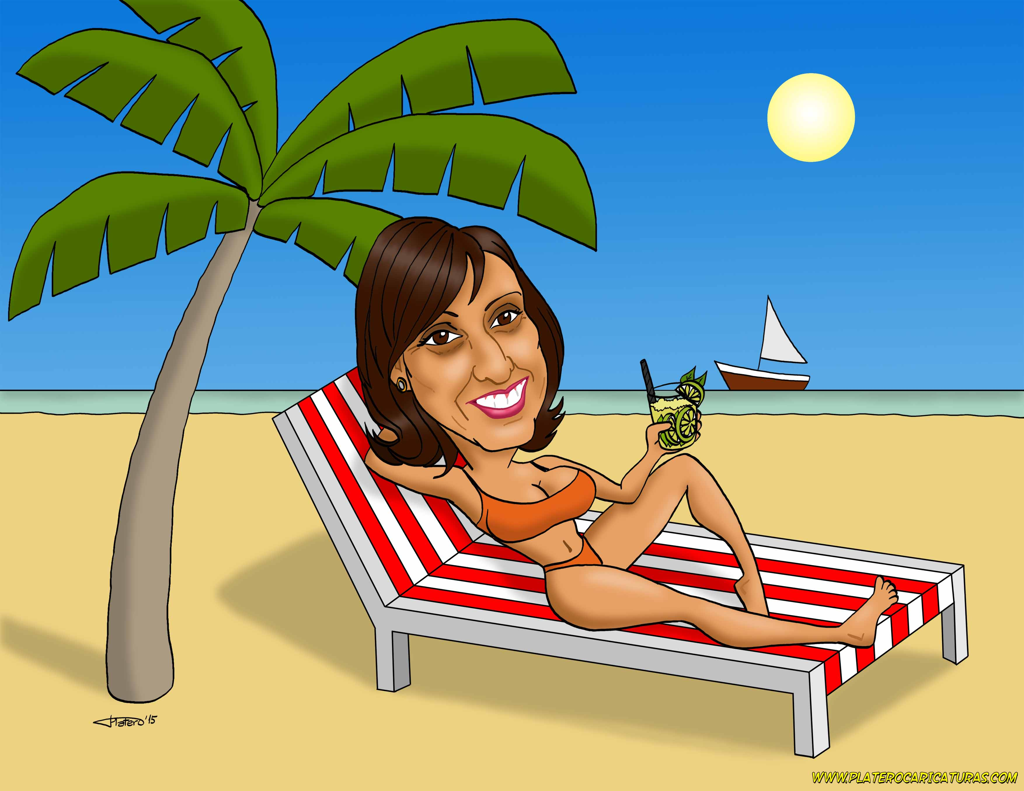 caricatura_a_color_por_encargo_personalizada_mujer_tumbada_en_hamaca_en_playa_co