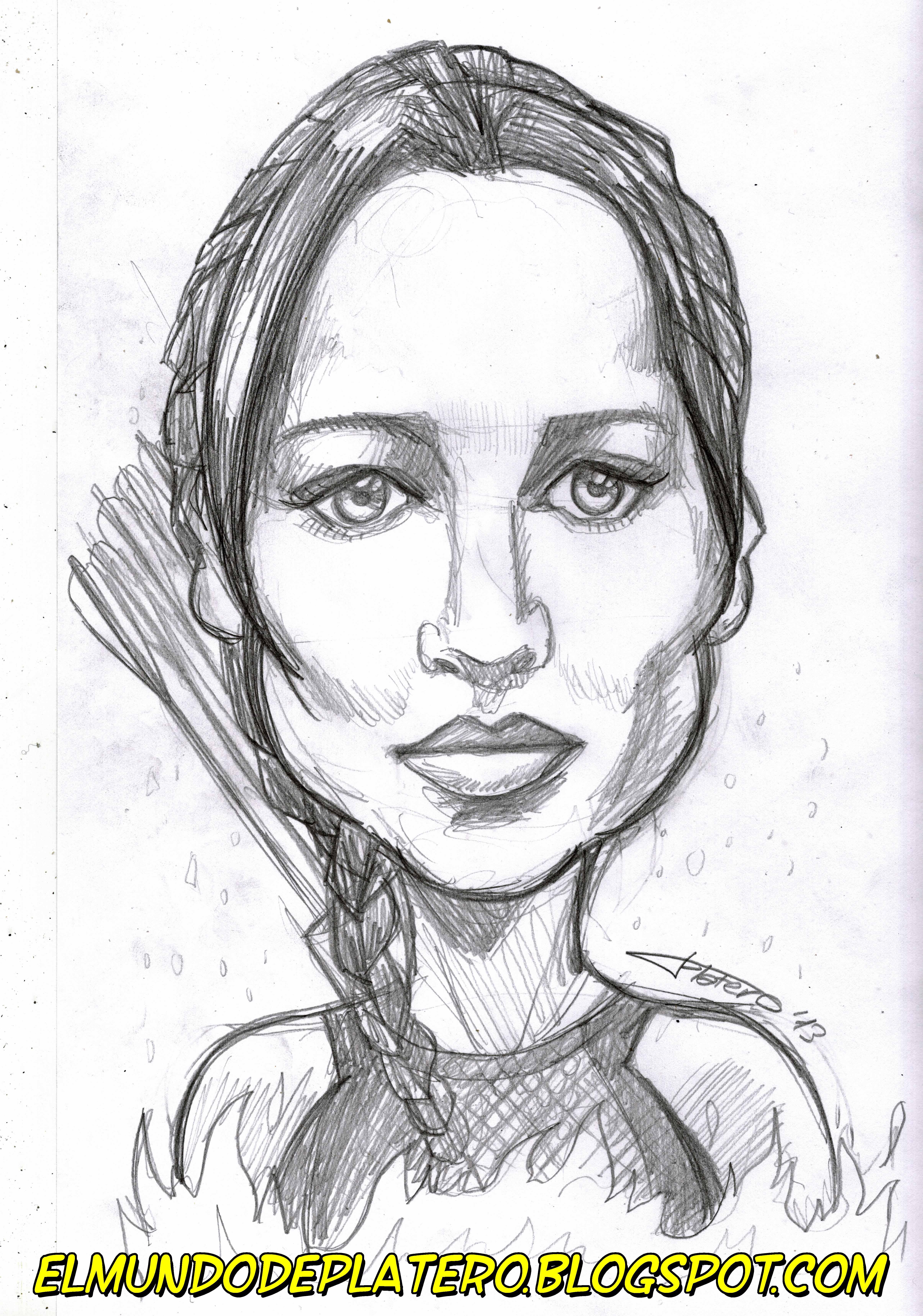 caricatura-retrato Jennifer Lawrence _los juegos del hambre en llamas_The Hunger