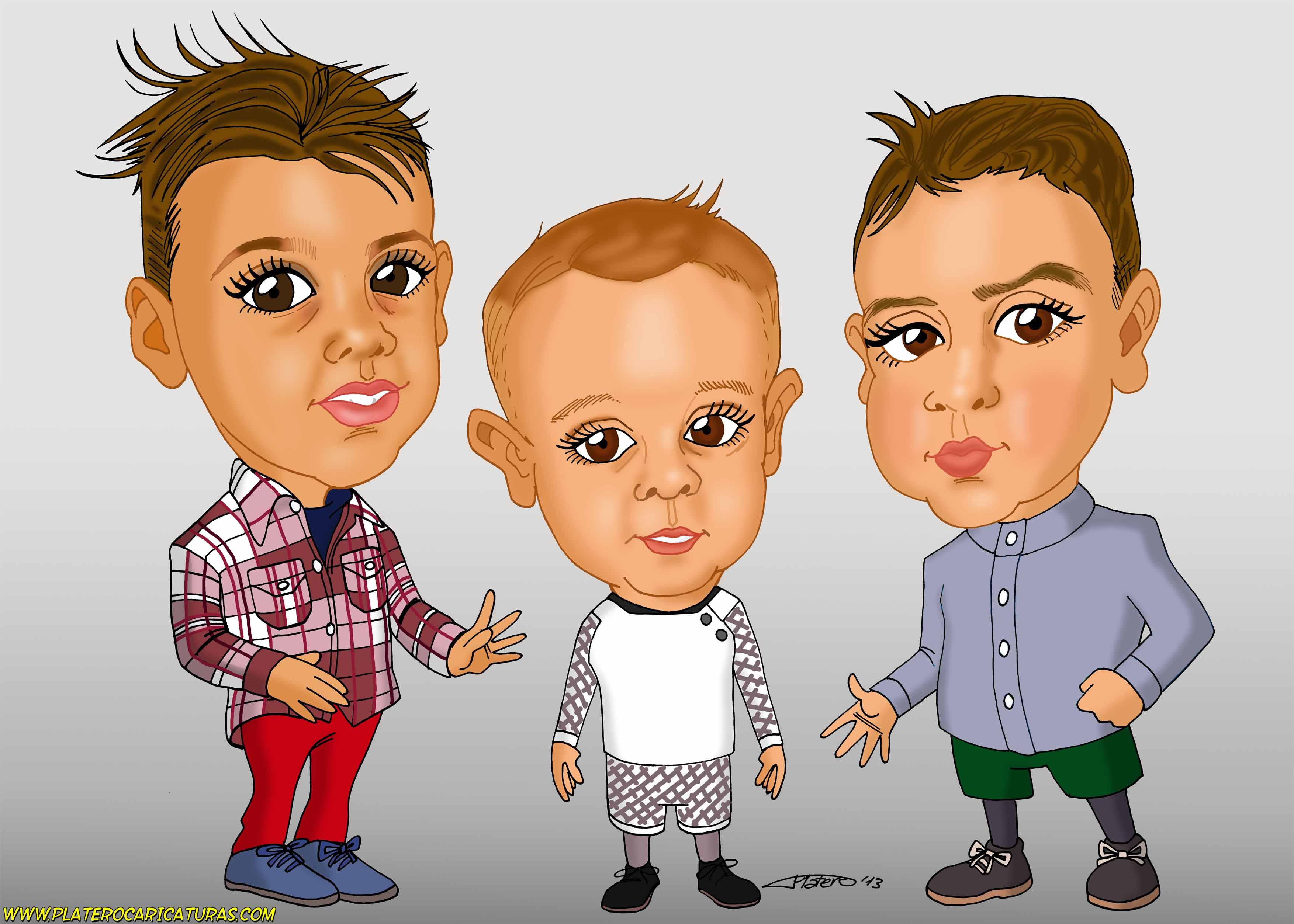 caricaturas a color por encargo personalizadas_tres niños_platerocaricaturas_jos