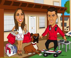 caricatura_a_color_por_encargo_personalizada_pareja_con_perro_y_casa_de_fondo_el