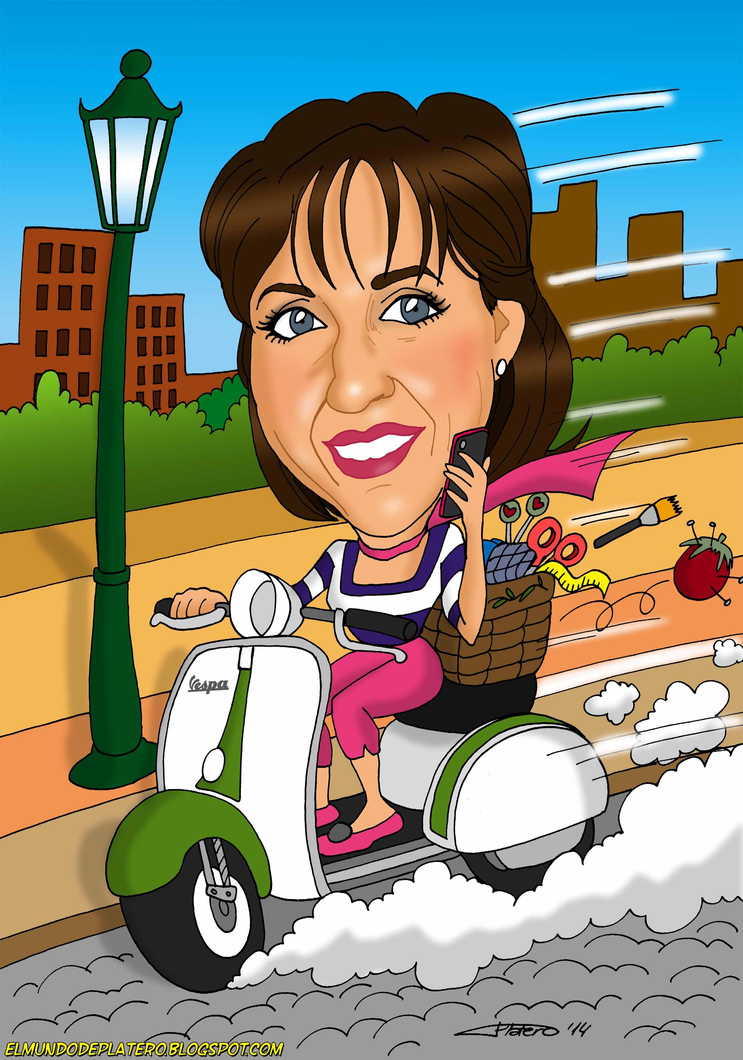 caricaturas a color por encargo personalizadas_mujer en vespa_platerocaricaturas