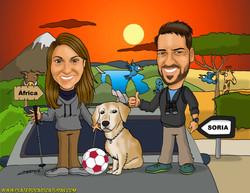 caricaturas a color por encargo_pareja novios con perro en africa_platerocaricaturas_jose luis plate