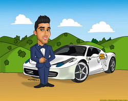 caricaturas_a_color_por_encargo_personalizadas_chico_con_Ferrari_platerocaricatu