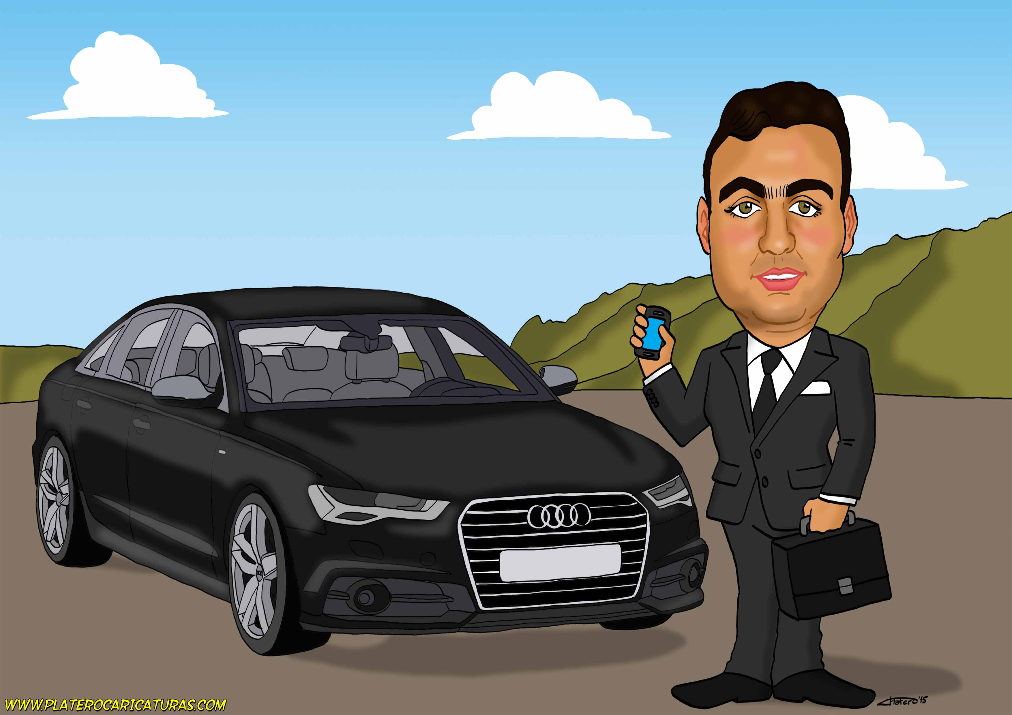 caricatura_a_color_por_encargo_personalizada_chico_con_Audi_A6_elmundodeplatero_