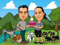 caricatura a color con perros_platerocaricaturas_jose luis platero
