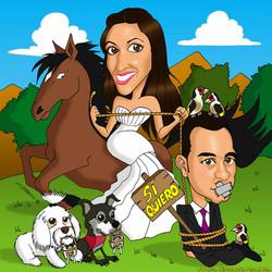 caricaturas a color por encargo personalizadas_invitación boda_novios con animal