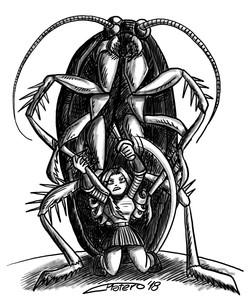 Chica contra cucaracha gigante