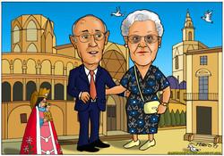caricaturas a color por encargo personalizadas_abuelos_elmundodeplatero_josé lui