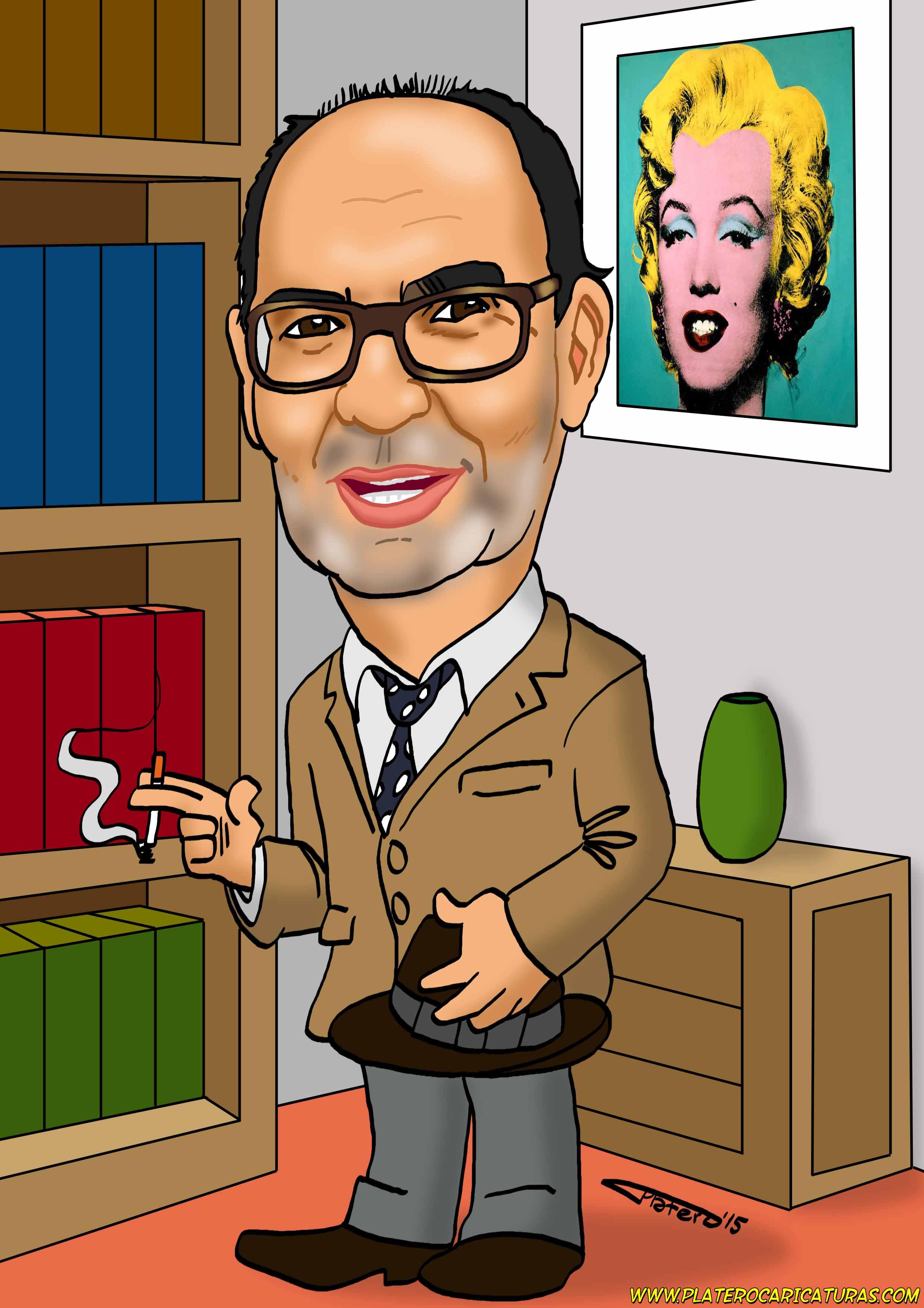 caricaturas_a_color_por_encargo_personalizadas_hombre_con_sombrero_platerocarica