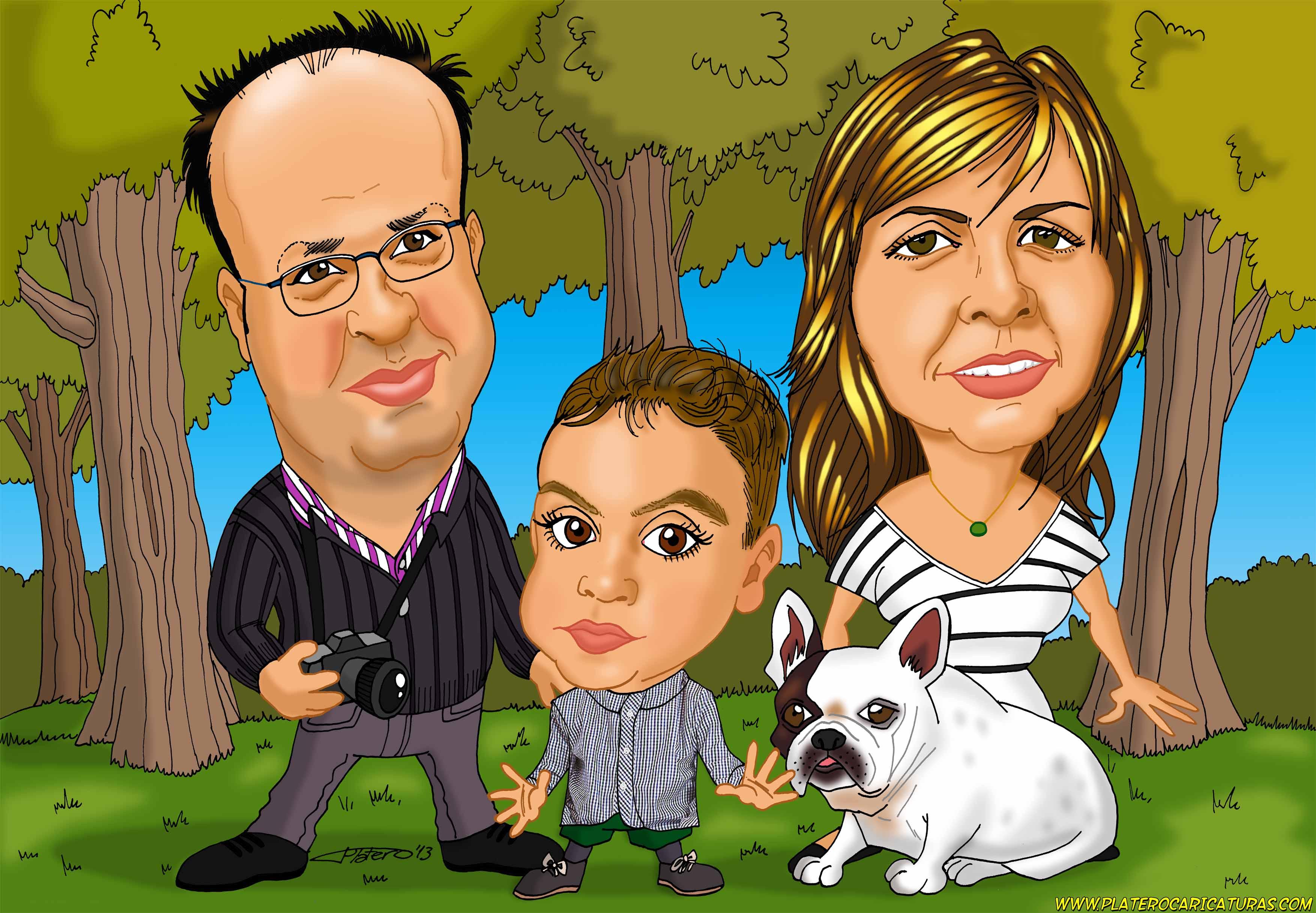 caricaturas a color por encargo personalizadas_familia_platerocaricaturas_josé l